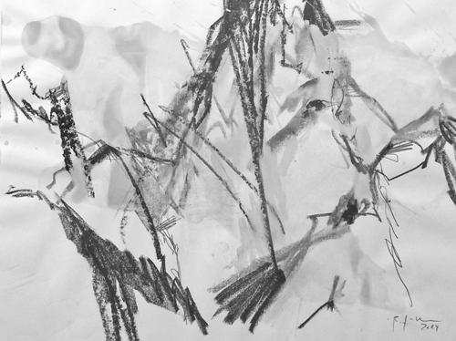 Landschaft_Bernd Zimmer_Tinzenhom,2015_Mischtechnik_34x41cm_zi614 schwarz weiss für die webseite